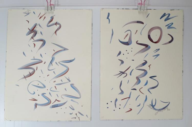 Lot of 3 Marcia Grostein Abstract W/C's 1990's
