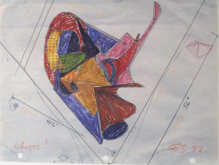 Frank Stella,Am.,Colored Pencil Drawing,mini litho