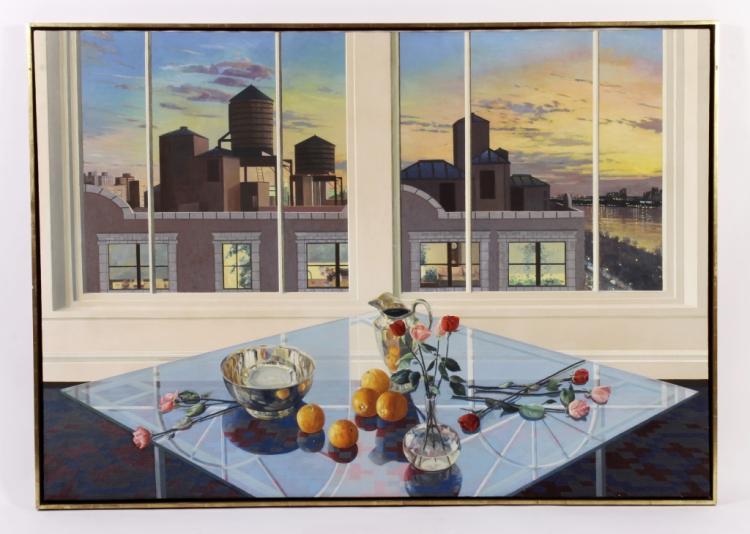 Ernesto Chorao,20th c., Still Life w Rooftops, O/C