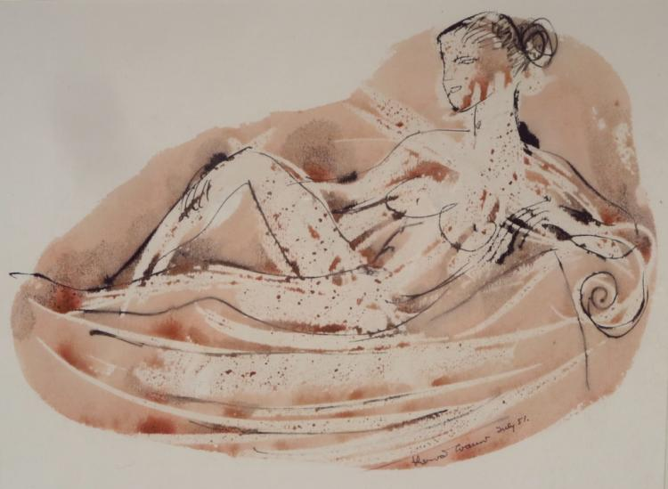 Reclining Nude Ink & W/C 20th C.