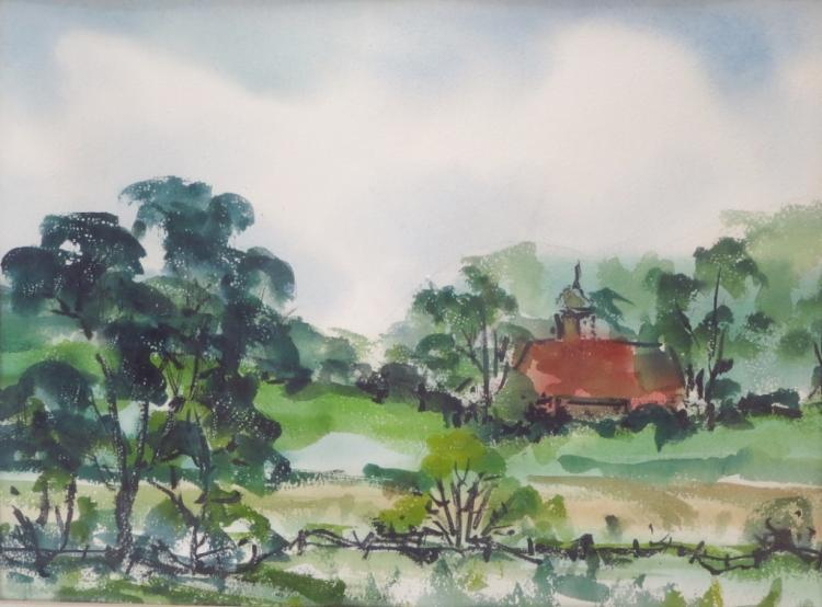Francis H.McIlvain,Am., Red Roof, w/c on paper