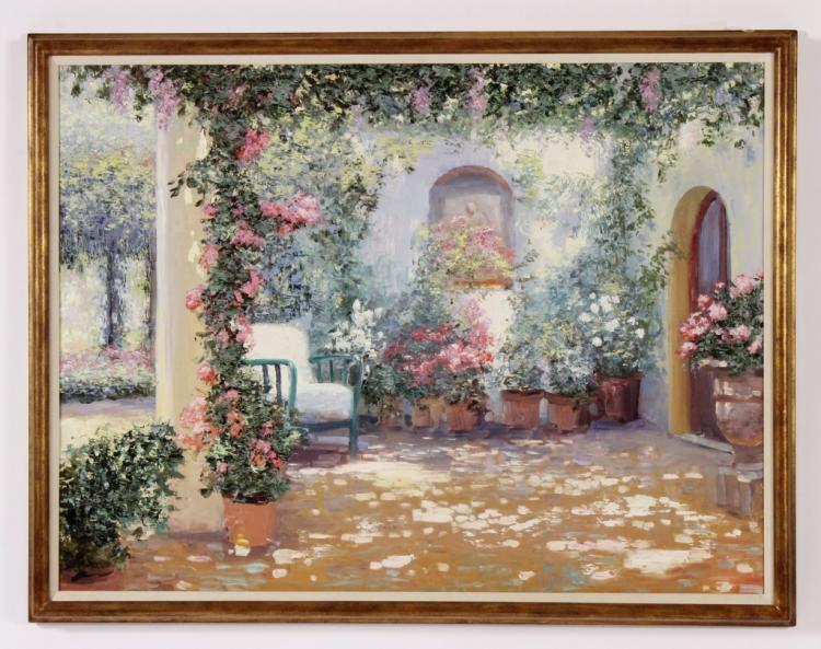H. Gordon, Impressionist Garden Patio, O/C
