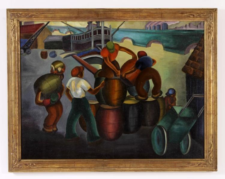 WPA-Era, Black Stevedores on the Mississippi, O/C