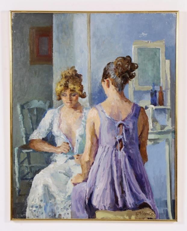Xavier Blanch, Sp., 1918-1999, Woman Dressing, O/C