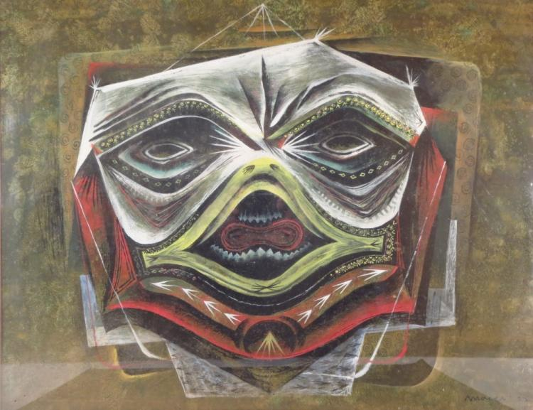 Moyer, Am., 20th c., Modernist Mask, Gouache, '51