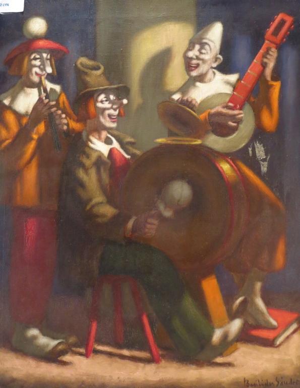 Basilides Sandor, Hungarian, Clowns, o/c