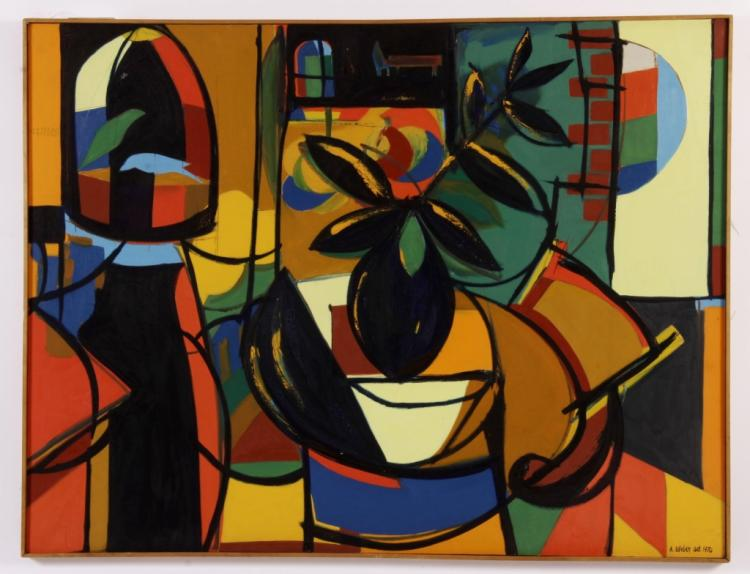 Arnold Weber, Am., Abstract w/ House Plant, O/C