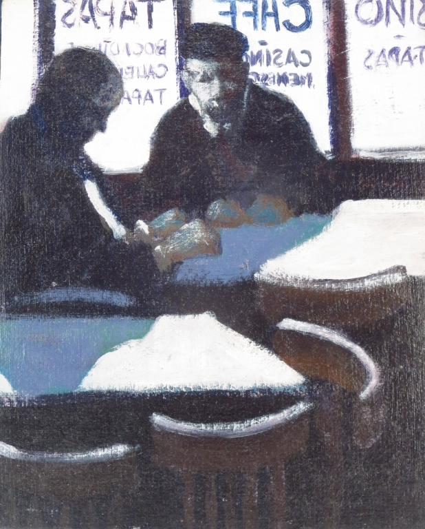 Spanish School, Two Men in a Cafe, Oil on Canvas