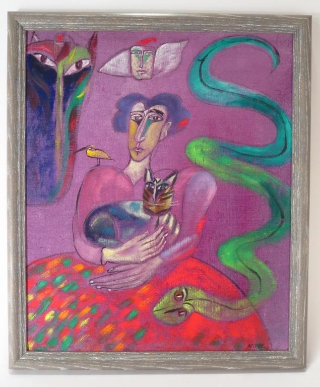 Madeleine Pyk, Swe., b. 1934, Woman,Cat,Snake, O/C