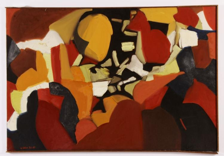 Arnold Weber, Am.,  Orange Red Abstract O/C