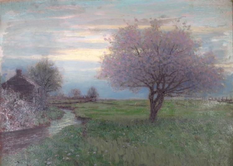 Birge Harrison, Am.,Flowering Tree at Dusk, o/c