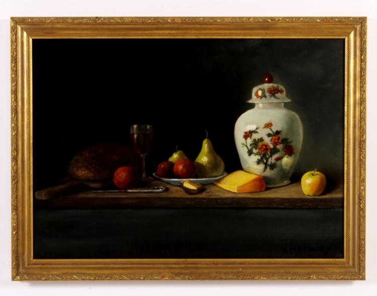 Nancy Maloney, Am., 20th C, Still Life w/ Fruits &