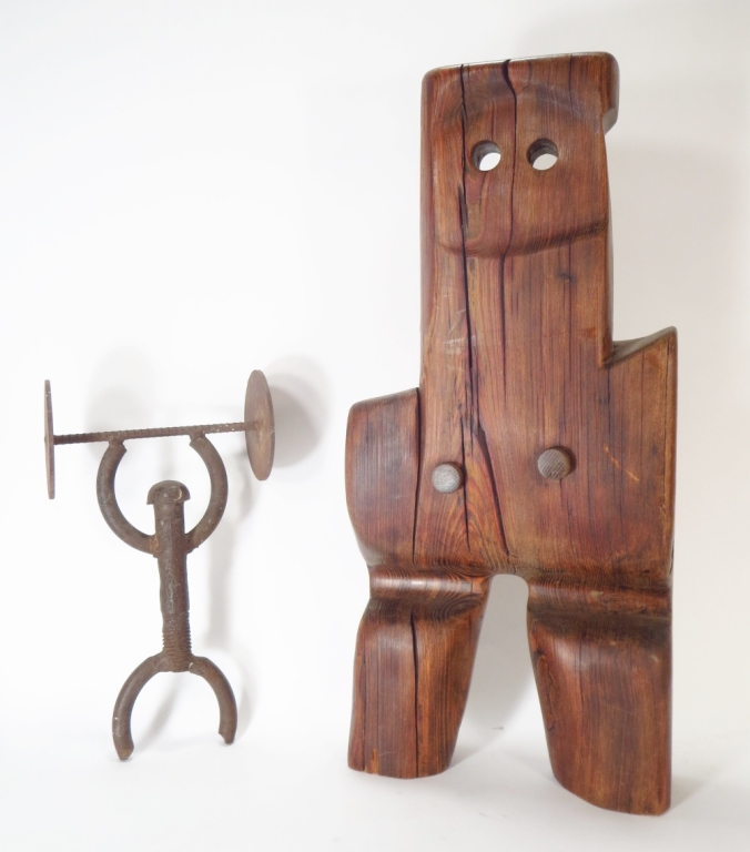 2 Sculptures Abstract Wood Figure & Iron Man 20th