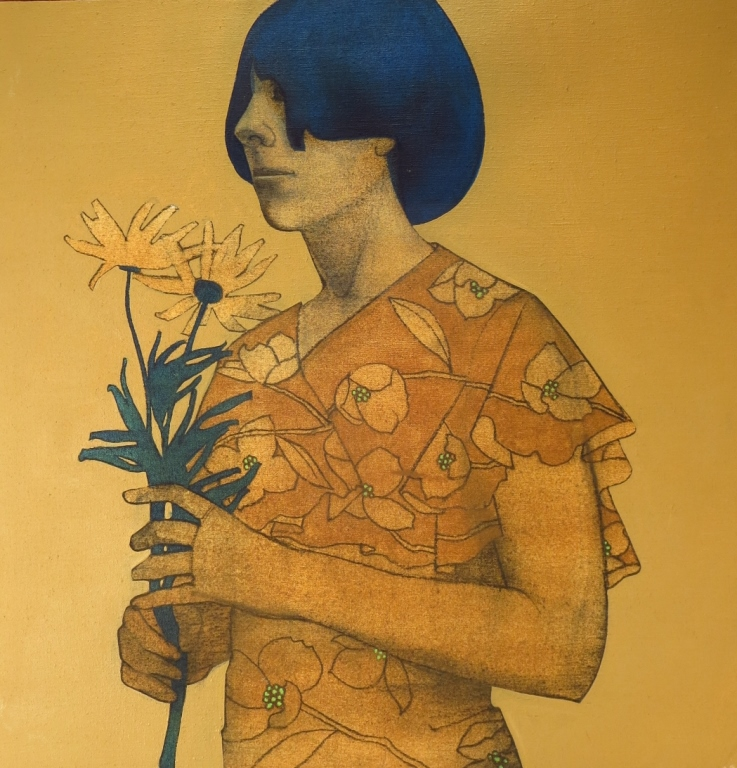 Sims, Am, mid-20th., Woman with Flowers, O/C
