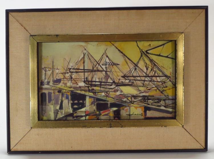 French Sch, mid-20th, Modernist Bridge, O/C