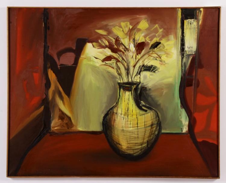 Arnold Weber, Am., Flowers in Vase, O/C