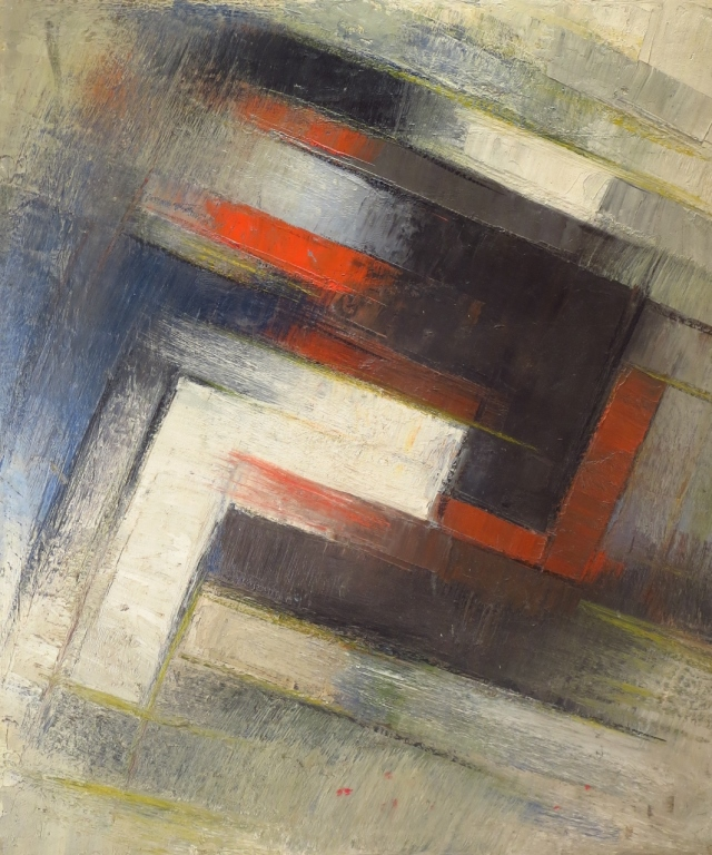 Am. Sch., Mid-20th c., Diagonals, Oil on Board