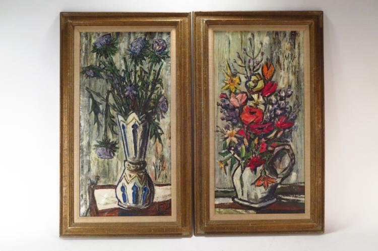 2 Modernist Still Lifes of Flowers, c. 1960