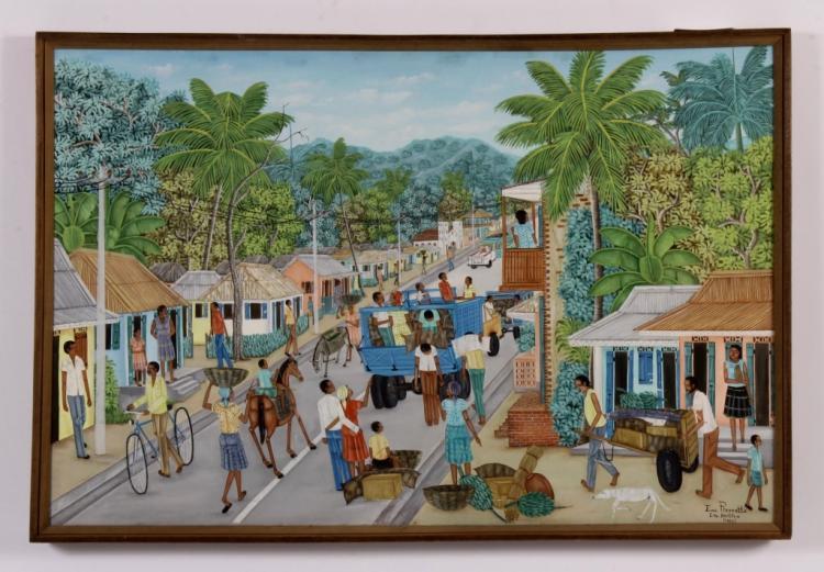 Emmanuel Pierrette, Tropical Streetscape, o/c