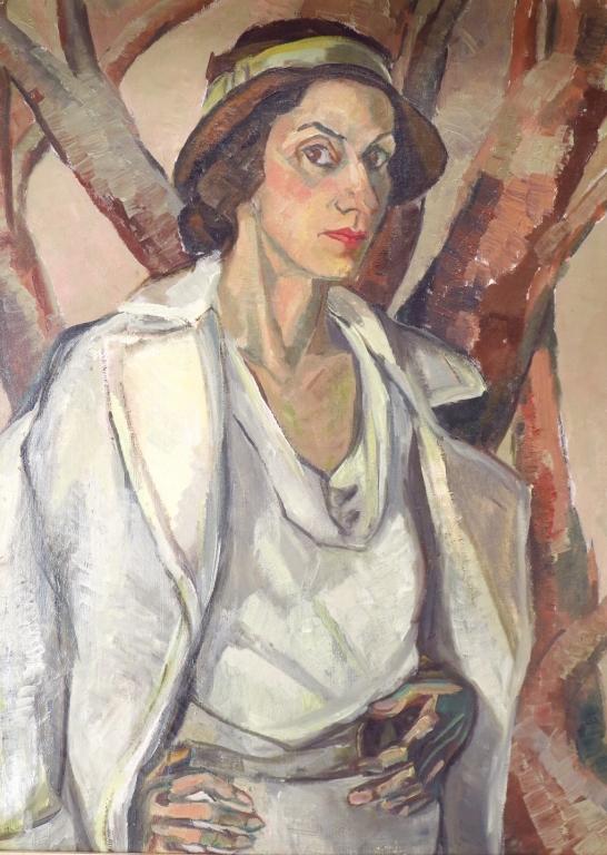 Am. School, 20th C. Portrait of Lady in Hat, o/c