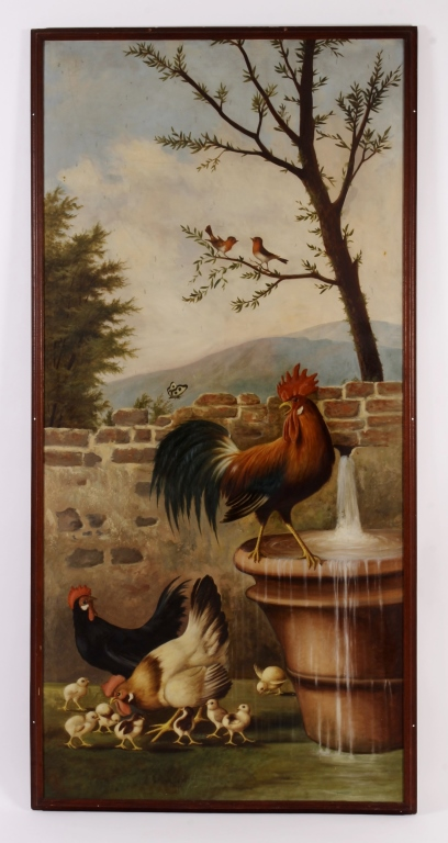 Michelangelo Meucci, It.,Farm Scene,o/c,signed