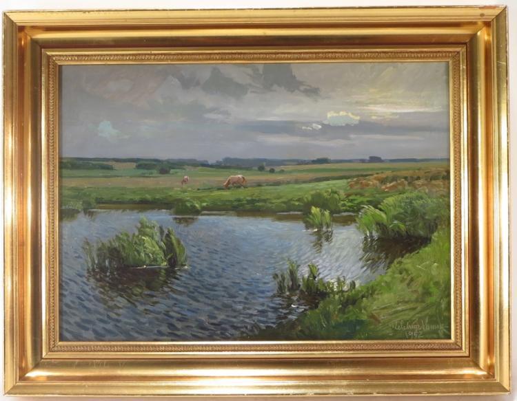Melchior Hansen, Dk, 1908-1977, Marsh Scene, O/M