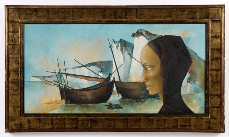 Pierre Henry Profile of Woman w/ Boats O/B 1960