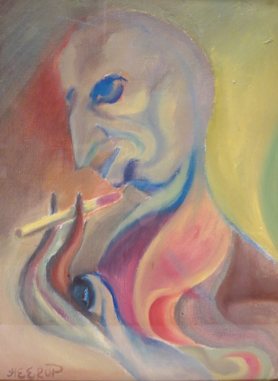 Henry Herrup, Danish,  1907-1983, Smoking Man, O/C