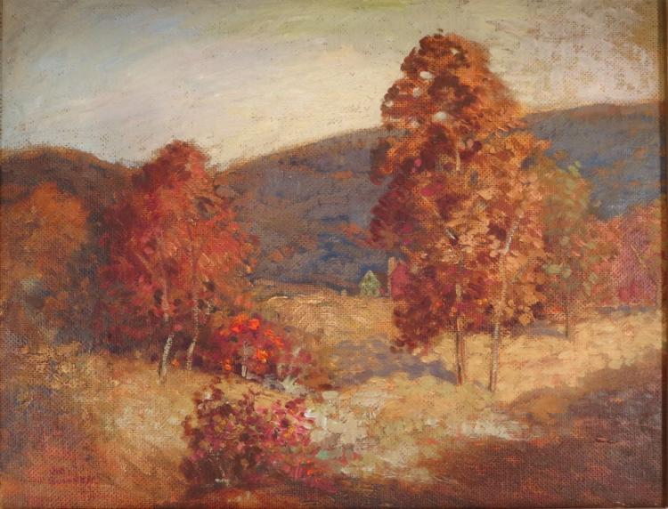 Autumnal Landscape, oil on masonite, signed l/l