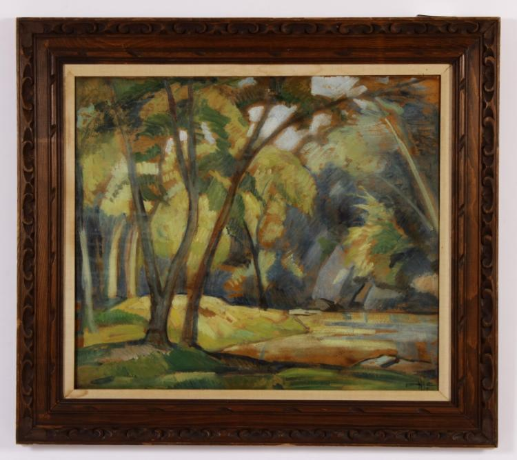 Am. School, Landscape with Trees, 1956, o/b