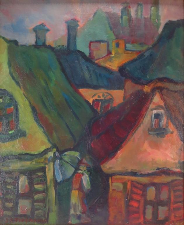 J F Tidemanis, Latvian, 1897-1964, Roof Tops, O/C