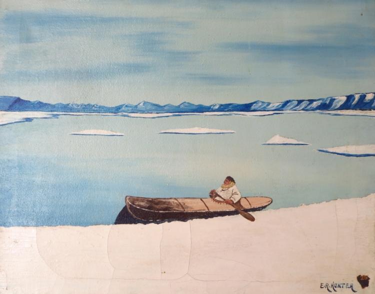E.R. Hunter, Inuit in Canoe, O/C, Signed
