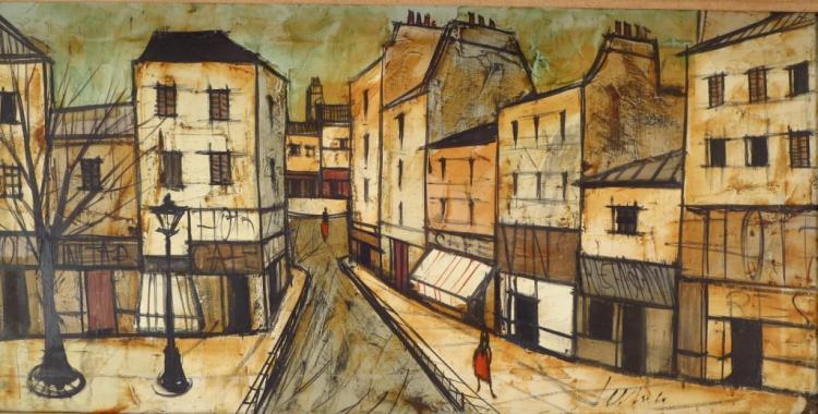 C. Levier, Paris Street Scene, Oil on Canvas.