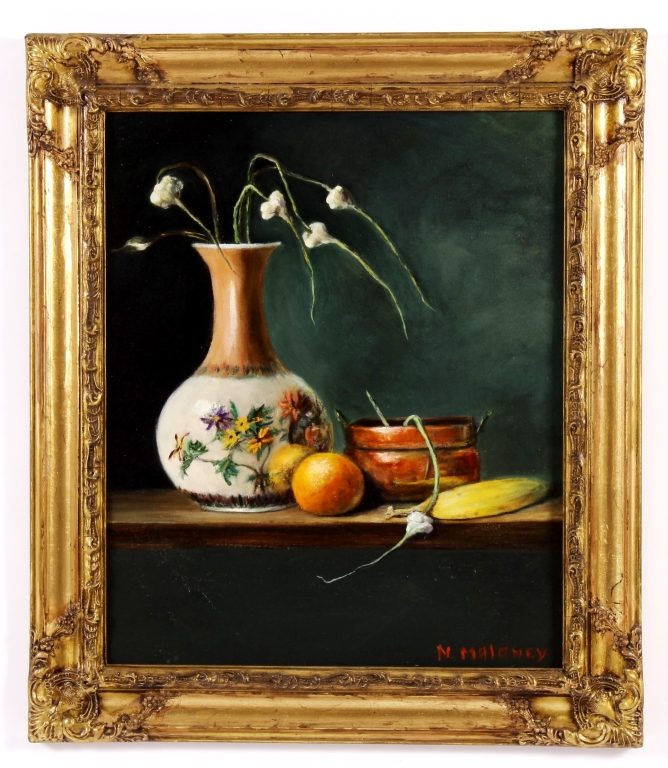 Nancy Maloney, Am., 20th C, Still Life w/ Garlic
