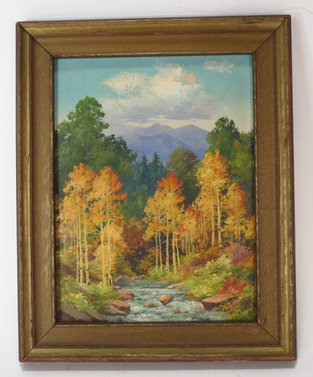 Fall Landscape with Trees, 20th C., o/b