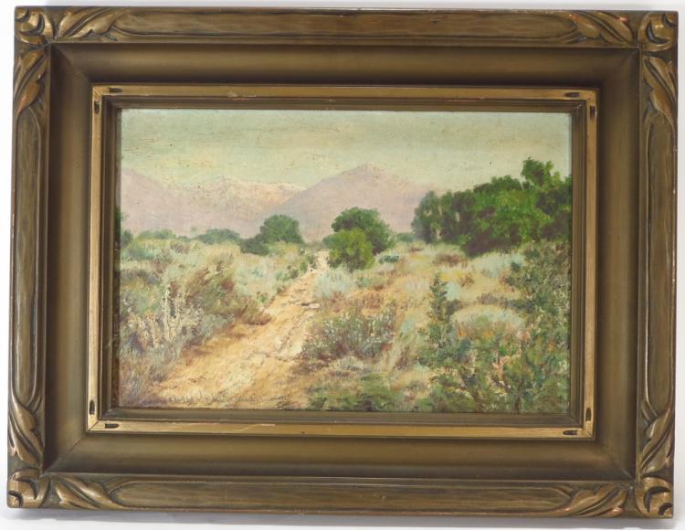 E. Schleussner, Calif, 1881-1956, Desert Path, O/C