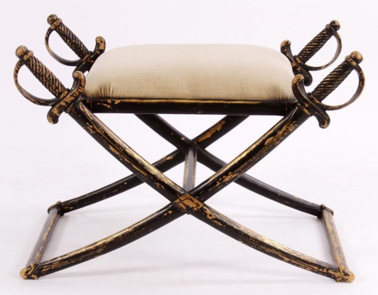 Regency Style Bench with Crossed Swords