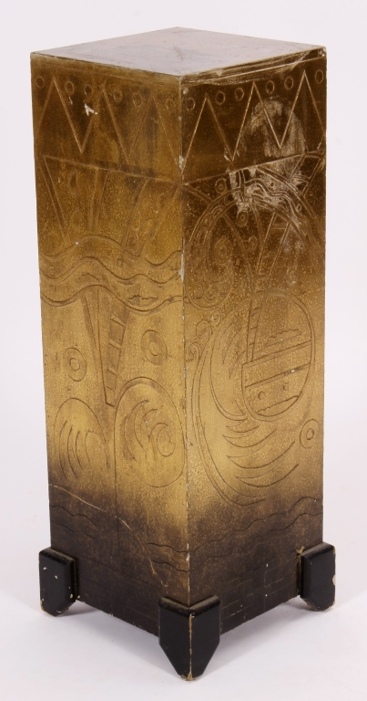 Art Deco Style Carved and Paint Decorated Pedestal