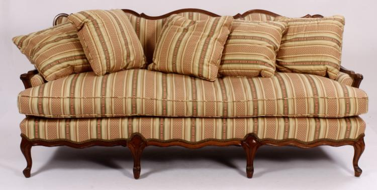 French Provincial Upholstered and Wood Sofa