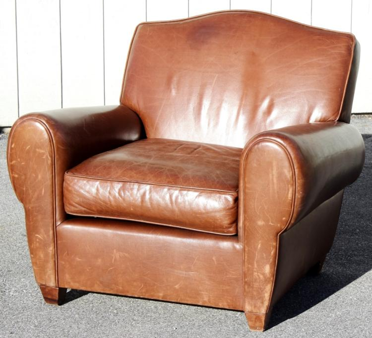 Large Parisian Style Leather Club Chair, 20th C.
