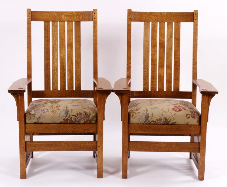 Pr. Allan Cole Mission Style Tiger Oak Side Chairs