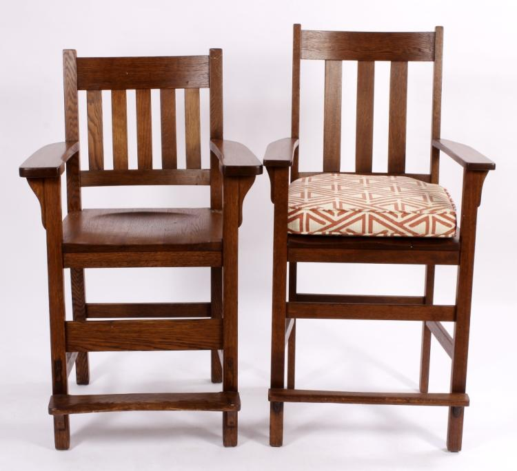 2 Mission Style Oak Counter Arm Chairs,20th C.