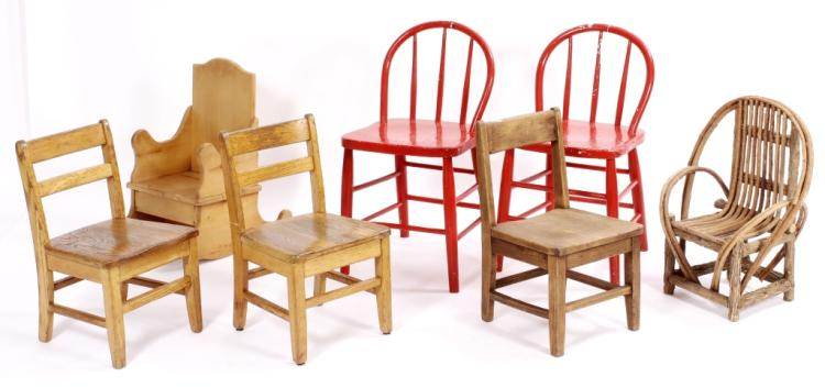 Group of 7 Children's Chairs, 20th C.