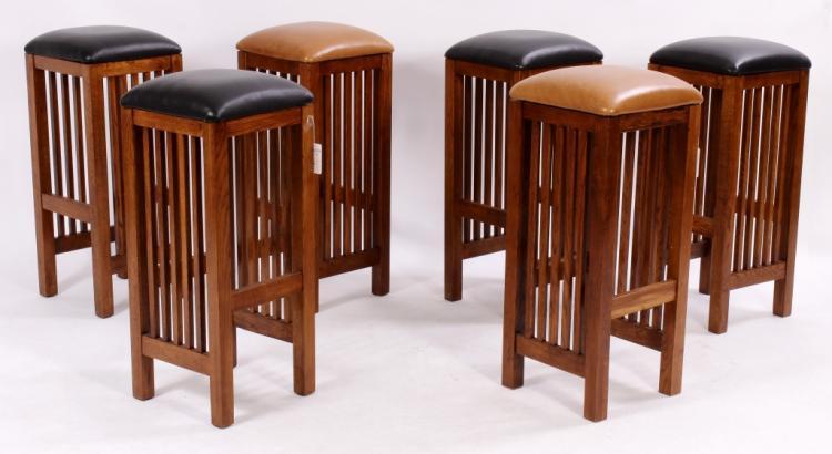 Six Mission Style Oak Finish Barstools