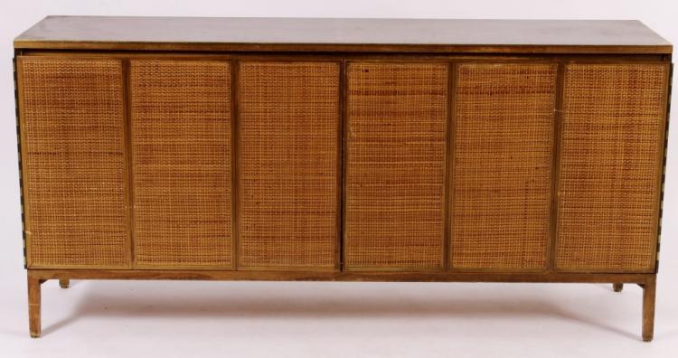Paul McCobb Wood, Rattan and Brass Dresser