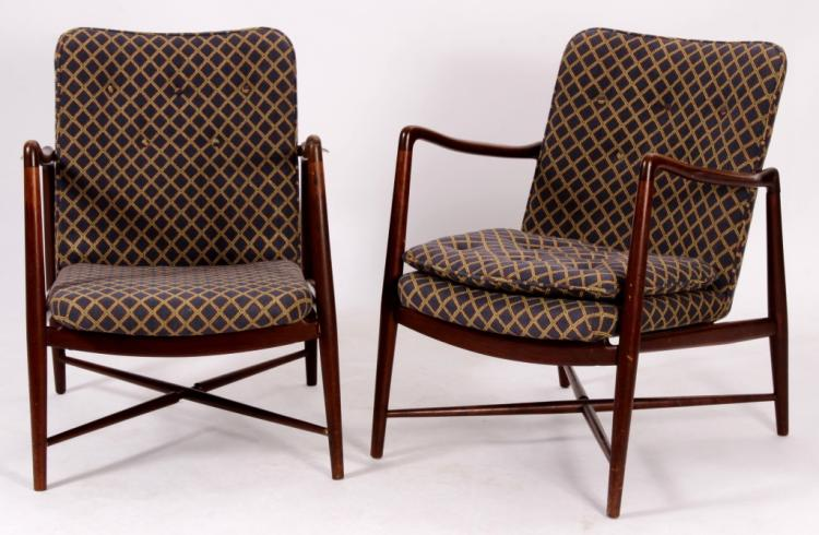 Pair of Finn Juhl Danish Teak Fireside Chairs