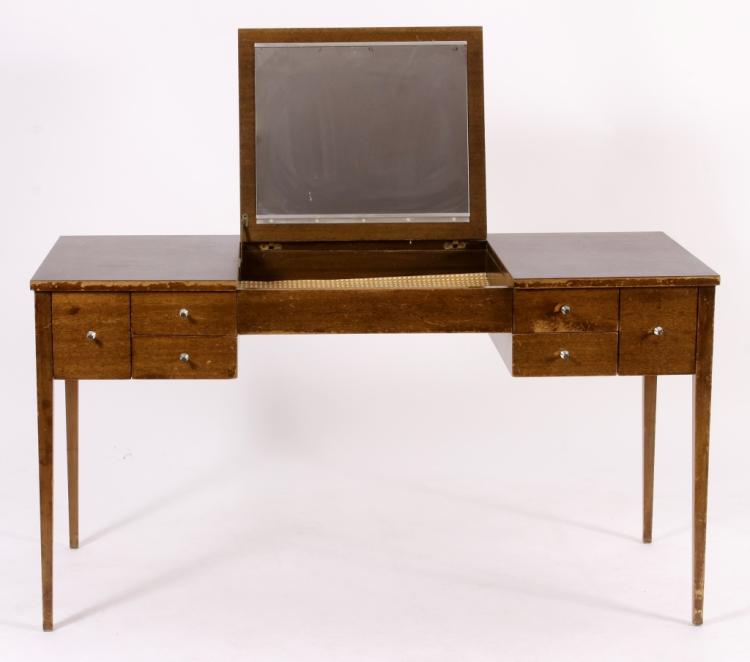 Paul McCobb Leather-Top Dressing Table with Mirror