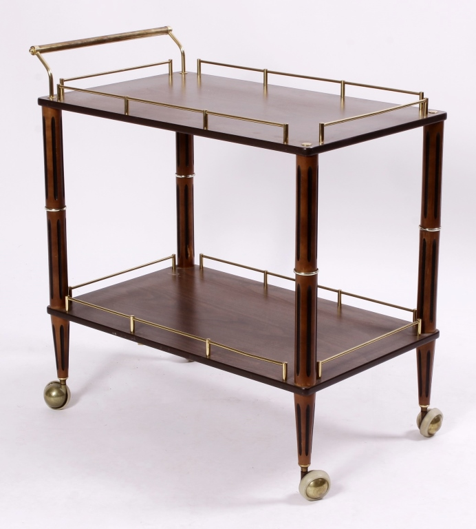 Brass and Mahogany Drinks Cart, Mid 20th C.