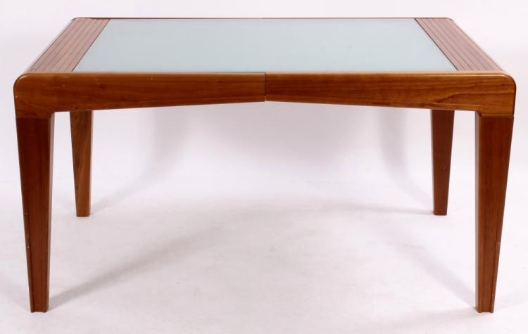 Danish Modern Teak and Glass Tambour Dining Table