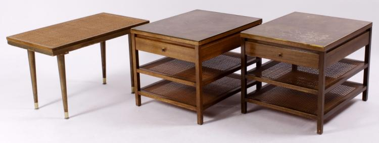 Paul McCobb Wood & Rattan Bedside Table and Bench